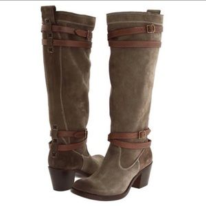 Frye Jane Strappy Suede Tall Boots 7